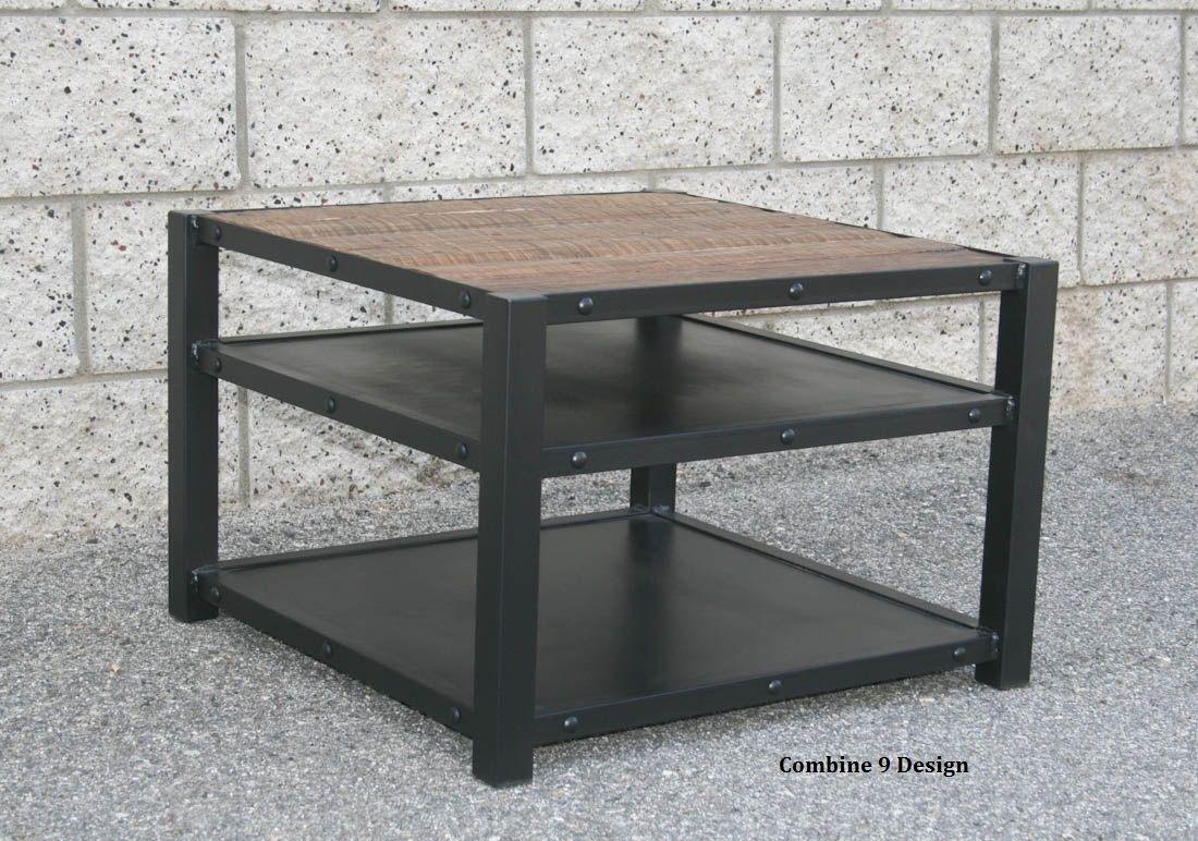 Buy A Handmade Modern Industrial End Table Coffee Table Steel And Vintage Reclaimed Wood Mid