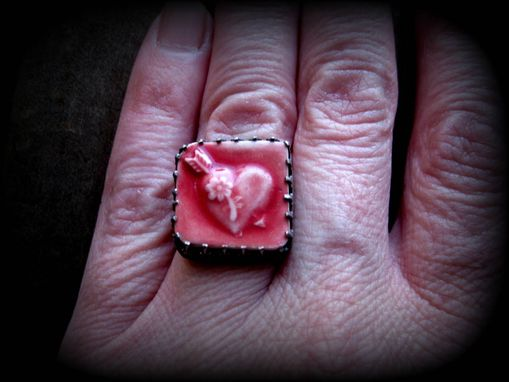 "Custom Made Red Porcelain Heart Ring With Wide Sterling Band ""The Quaintness Of Affection''"