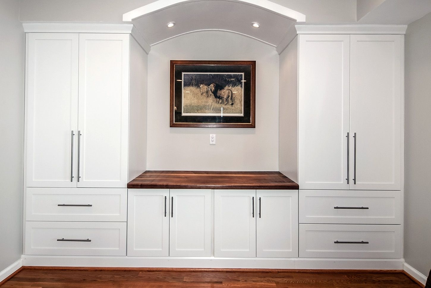 Custom built in counter top wall unit by design by jeff for Built in wall units