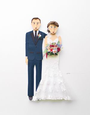 Custom Made Wedding Portrait Custom Made From Paper Cutouts 11 X 14