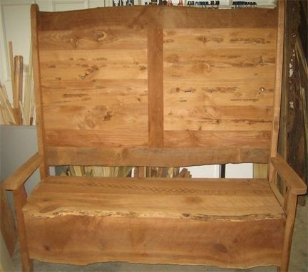 Custom Made Old World Style High Back Storage Bench