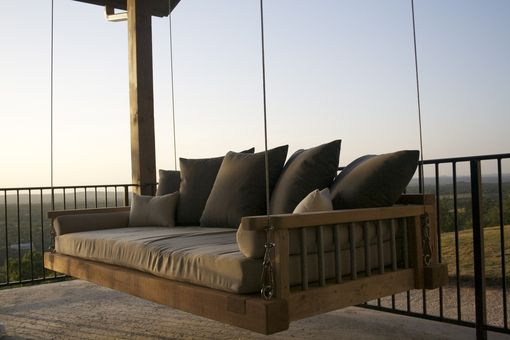 Custom Made Cedar Swing Bed Suspended By Galvanized Cable With Outdoor Mattress And Pillows