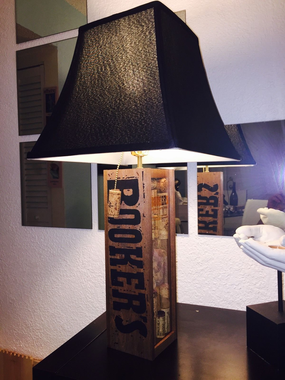 Custom lamps custommade table lamp bourbon bookers theme black shade geotapseo Image collections