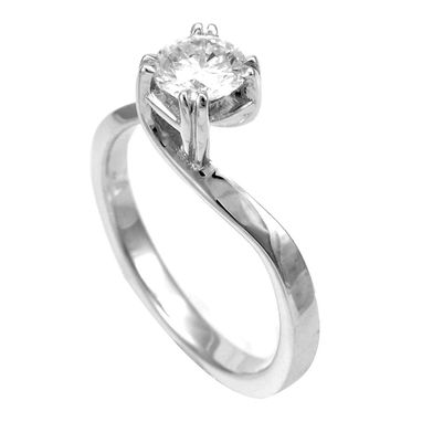Custom Made Diamond Solitaire Engagement Ring In 14k White Gold, Proposal Ring, Ladies Ring