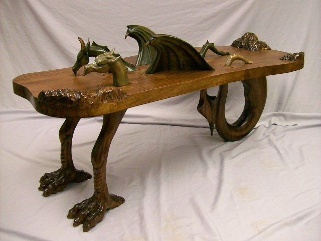 Handmade dragon coffee table by custom wood carving