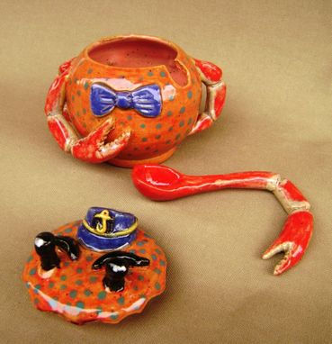 Custom Made Jack The Crab Sugar/ Sauce Bowl With Dipping Spoon/Claw, Ceramic