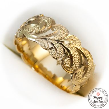 Custom Made 14k Gold Hand Engraved Hawaiian Jewelry Ring With King Scroll Design