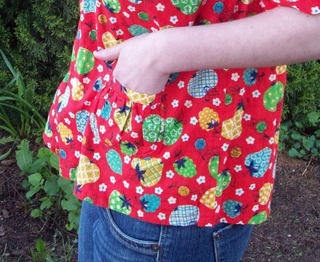 Custom Made Red Fruit Print Button-Down Blouse