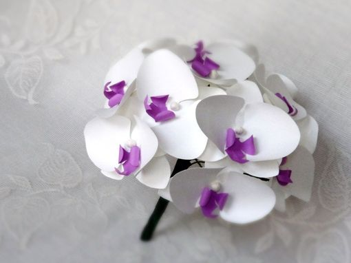 Custom Made Paper Orchid Bouquet And Boutonniere Set