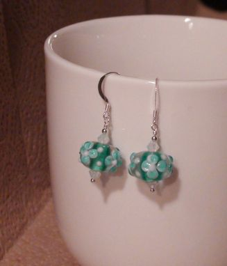 Custom Made Aqua And White Bumpy Lampworked Glass Earrings