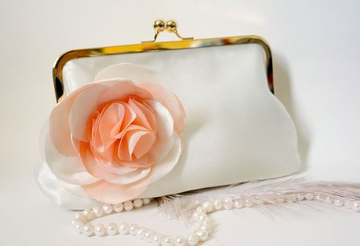 Custom Made Satin Bridal Clutch With Peach And Ivory Satin Flower Accent