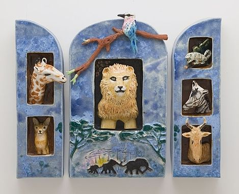 Custom Made Ceramic Wall Hanging Shadow Box Of African Animals