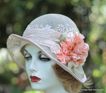 Custom Shabby Chic Vintage Hat 1920 S Wedding Tea Party
