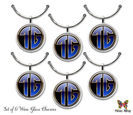Custom Made Custom Wine Glass Charms Wedding Gift - Set Of 6