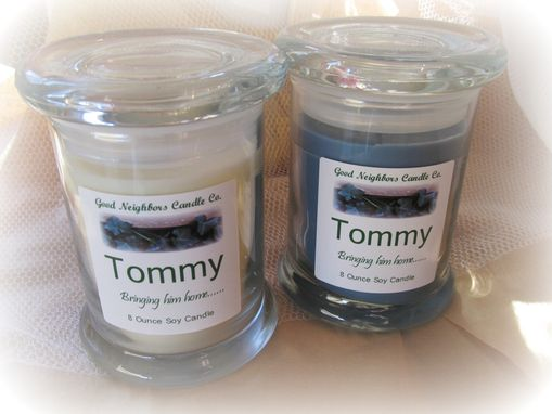 Custom Made Soy Candle, Adoption Fund Raiser, Tommy, Hemp Wick, You Choose Fragrance, Fitted Lid