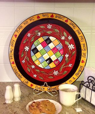 Custom Made Hand Painted Lazy Susan Whimsical Design, Checks Inspirational Words Custom