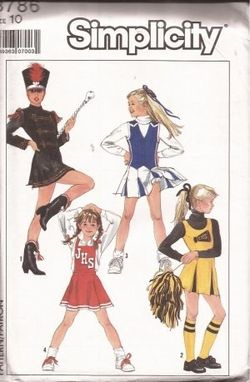 Custom Made Simplicity 8786 1988 Vintage Size 10 Girls Cheerleader And Majorette Outfits