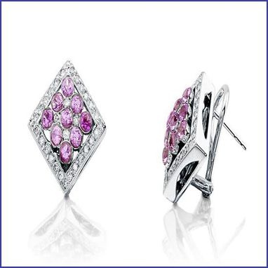 Custom Made 18k White Gold Diamond And Pink Sapphire Earrings