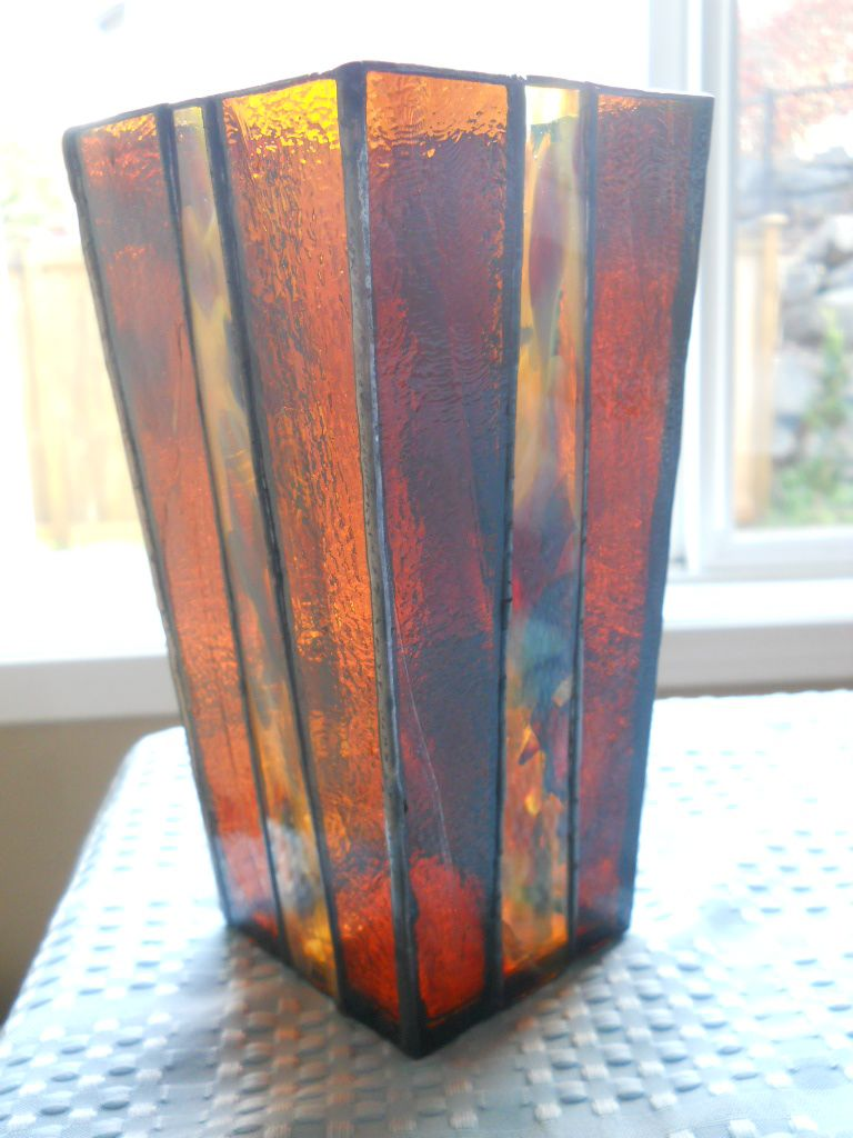 Custom brown stained glass vase by chapman enterprises custom made brown stained glass vase reviewsmspy