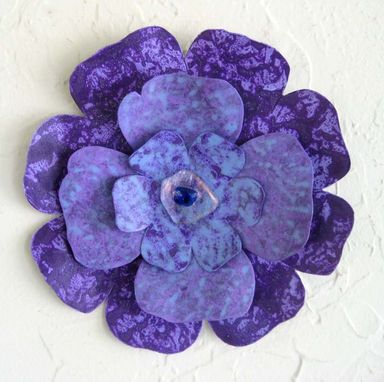 Custom Made Handmade Upcycled Metal Flower Wall Art In Blue, Purple, And Lavender