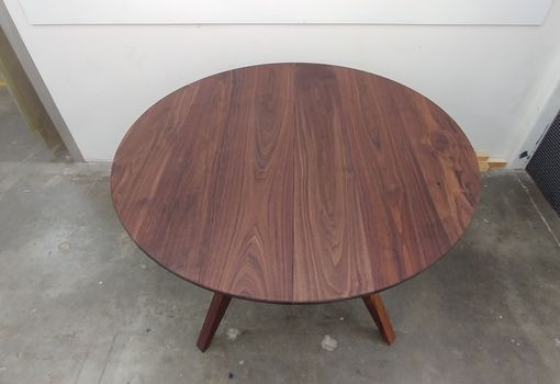 Custom Made Expandable 48 Inch Diameter Solid Walnut Table W/ 18-Inch Leaf