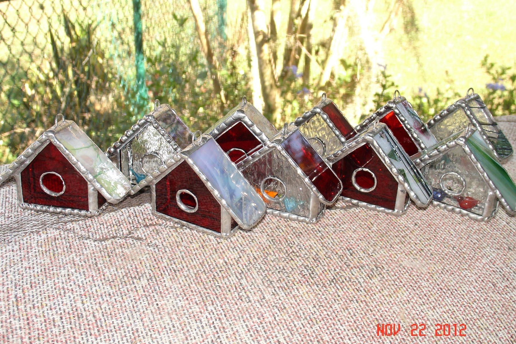 Handmade Stained Glass Bird House Ornaments By Artistic
