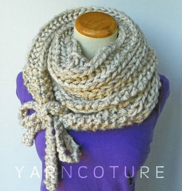 Custom Made The Toolaksak - Textured/Ribbed Wrap & Tie Cowl - Fall Winter Fashion / Thick And Warm