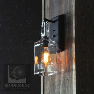 Custom Made Whiskey Recycled Bottle Rustic Wall Sconce