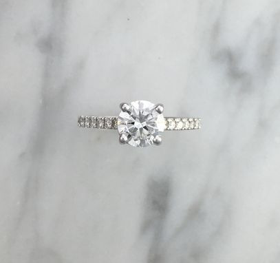 Custom Made 1.03 Ct. Gia Certified Classic Petite Round Diamond Engagement Ring In - 14k White Gold - No Halo