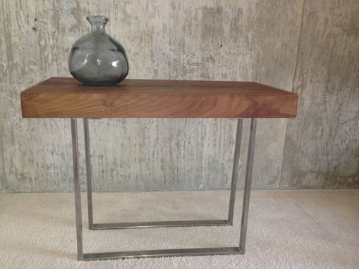 Custom Made Walnut & Stainless Steel Modern Side Table