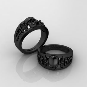 rings doctors logo skull goth mens wedding band solid 925 sterling silver black finish - Gothic Wedding Rings