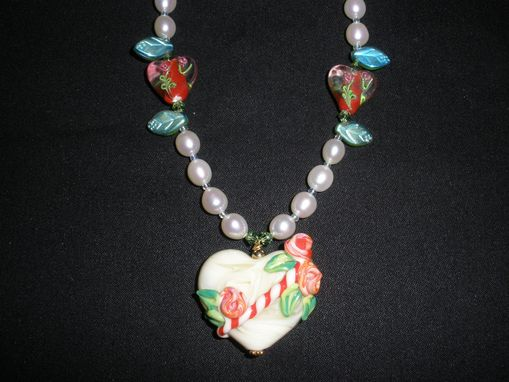 Custom Made Heartshape Glass Blown Heart Pendant With Freshwater Pearls, Glass Hearts And Leaves.
