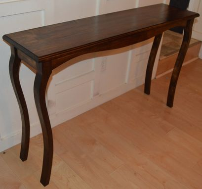 Custom Made Solid Maple Stained Cabrio Console Table With Curved Legs