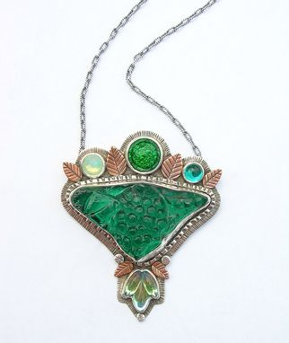 Custom Made Green Antique Glass Statement Necklace