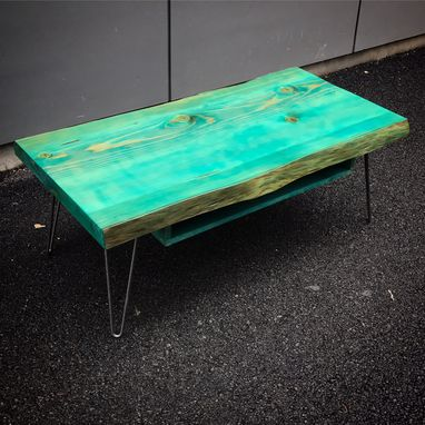 Custom Made Turquoise Fir Live Edge Table