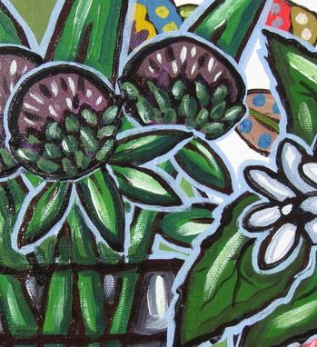 Custom Made Daisies Acrylic Still Life Painting Original On A Green And Purple Background