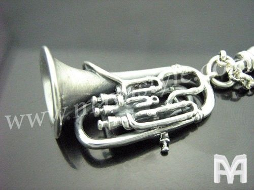 Custom Made Sterling Silver Tuba Keychain