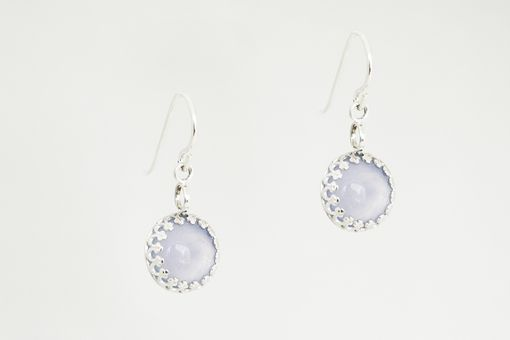Custom Made Sterling Silver Decorative Bezel Cabochon Earrings