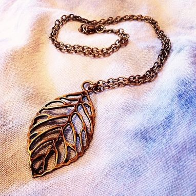 Custom Made Silver Filigree Leaf Necklace