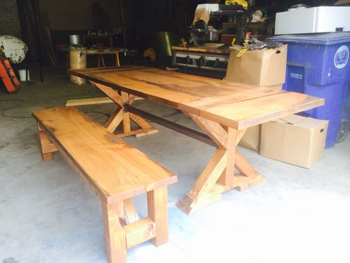 Custom Made Reclaimed Oak Farm Table With X-Base