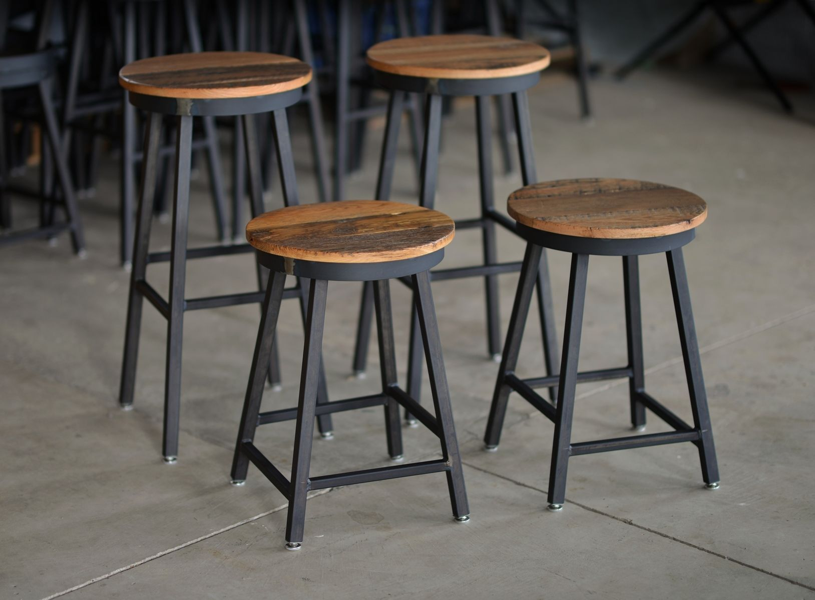 Custom Made Reclaimed Barnboard Oak Raw Steel Bar Stools