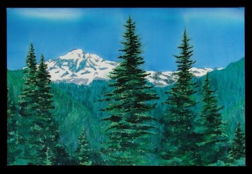 Custom Made Silk Painting Of Glacier Peak
