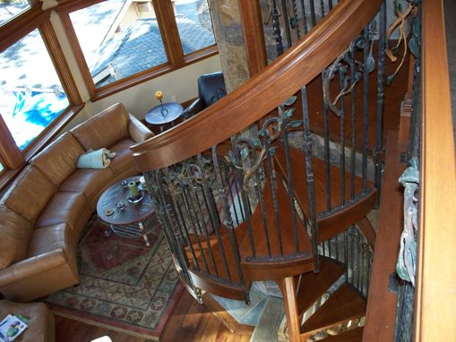Custom Made Mountain Lake Kitchen, Fireplace & Spiral Staircase