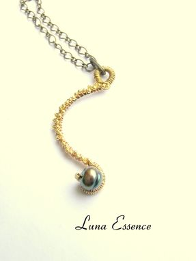 Custom Made Golden Luna Moon Wire Wrapped Pendant