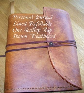 Custom Made Custom Leather Journal With Scalloped Edge In Weathered Color