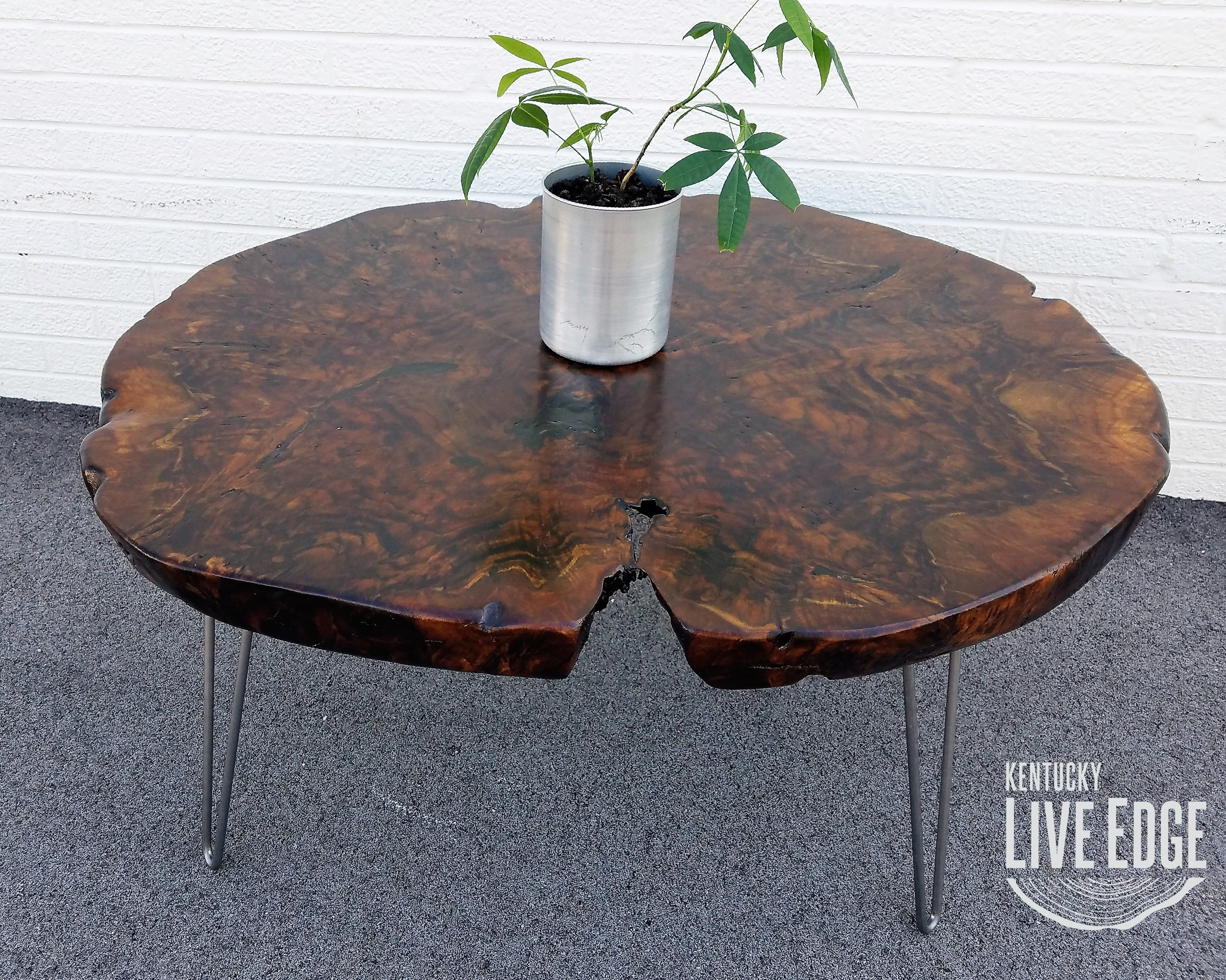 - Hand Crafted Large Live Edge Coffee Table- Round- Walnut- Burl