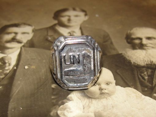 Custom Made Antiqued Sterling Silver Rectangular United Nations Ring World War Ii 2