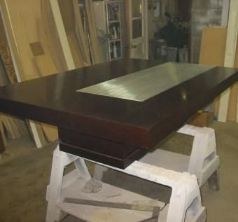 Custom Made Wenge Table With A Solid Aluminum Insert