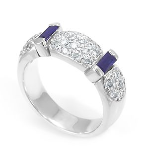 Custom Made Blue Sapphire And Diamond Ring In 14k White Gold, Ladies Ring, July Birthstone Ring