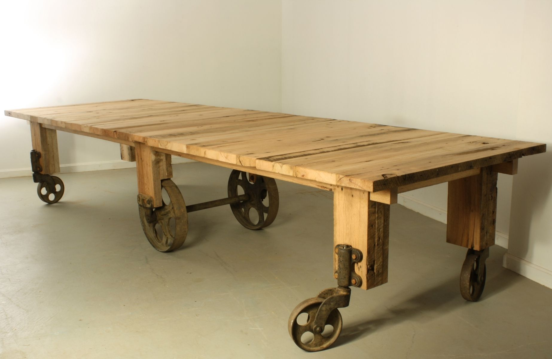 Custom Industrial Cart Dining Table by Warnock Woodwork